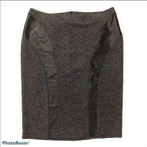 Lane Bryant faux leather trim pencil skirt